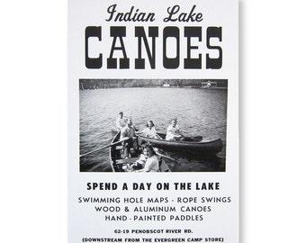 Indian Lake Canoes Roadside Sign Poster Print