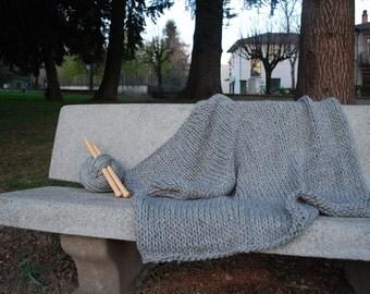 Chunky blanket Merino wool Grey