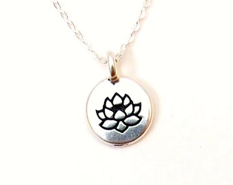 Tiny lotus necklace / Silver lotus necklace / Yoga necklace / Layering lotus necklace / Sterling Silver chain