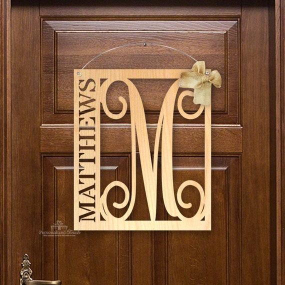 20 Custom Family Name Wooden Front Door Hanger