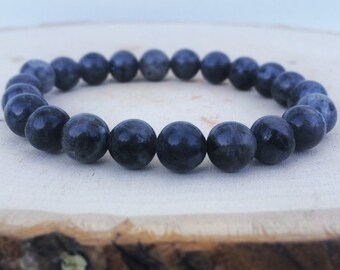 Genuine Labradorite Bracelet, Gemstone Stretch Bracelets, Mens Womens Bracelets, Beaded Bracelets