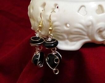 Black Wire Wrapped Stone Earrings