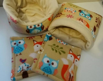 Woodlands Print Guinea Pig Set Cuddle Cup Snuggle Sack Cage Pads