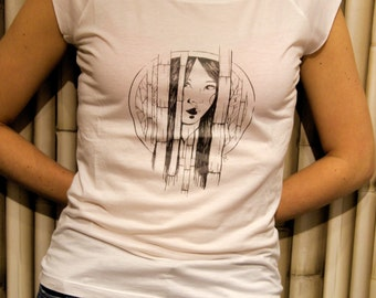 Artistic bamboo fiber t-shirts/bianca/exclusive graphics by artist of Vicenza