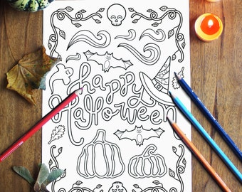 Halloween Coloring Pages, Printable Coloring Pages, Happy Halloween Instant Download Coloring Page for Adults and Kids, Illustration