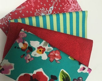 SALE - 4 Fat Quarters - (teal, red, pink) - Cotton fabric