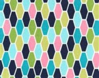 Michael Miller Fabric  - Hexo in Navy - Technicolor Collection by Emily Herrick - Cotton fabric by the yard