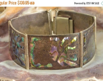1 Day Sale Inlaid Abalone Rectangular Link Bracelet Sterling Silver 43.1g