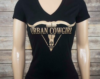 An Urban Cowgirl V-Neck Tee