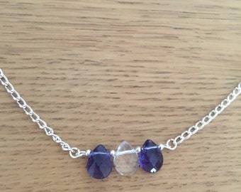 Silver necklace, teacher gift, Silver purple necklace, love necklace, raindrop necklace, silver necklace, friendship gift