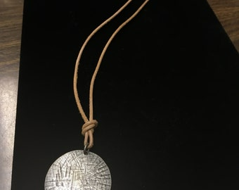 Vintage Necklace, Jute with Silvertone Etched Pendant