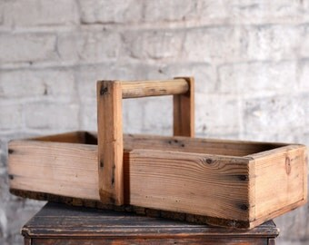 Old wood basket for fruit - from France - used for picking fruits