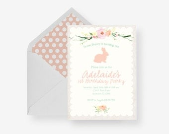 Floral Bunny Scalloped Birthday Party Baby Shower Invitation