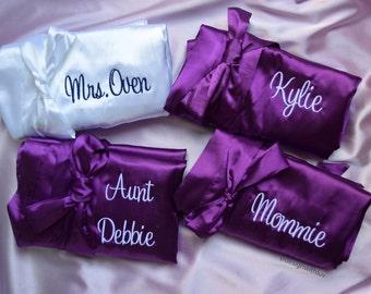 Set of 2, 3, 4, 5, 6, 7, 8, 9 Bridesmaid Robe,  Bridesmaid gift, Bridal party gift, bridal party robe, Maid of Honor gift, Bride robe (R004)