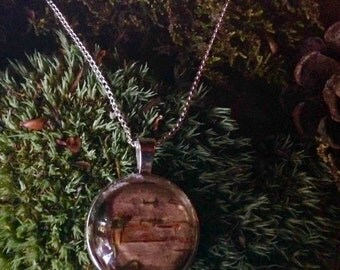 Birch and moss necklace from NH WOODS