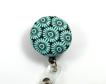 TURQUOISE Fabric Reel, Retractable Badge Reel, Turquoise flower Badge, Flower Lanyard