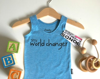 Blue Baby Singlet with Tiny World Changer Print