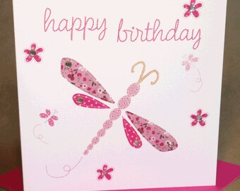 Dragonfly Birthday Card, Jewelled Birthday Card for Woman/Girl
