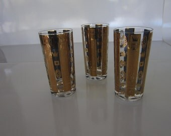 Set of 3 Gold & Teal Tumblers