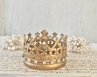 Beautiful Antique Gold Cross Santos Cage Doll Crown