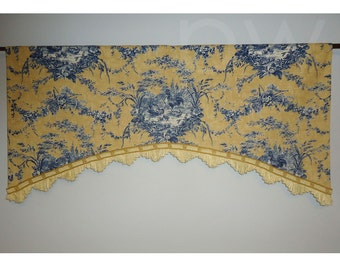 "Waverly La Petite Ferme French Country Blue Yellow Rooster Valance Standard Size 44"" Farm Design Shaped"