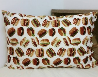 Two (2) - 100% Cotton Snack Food Pillowcases - Burger
