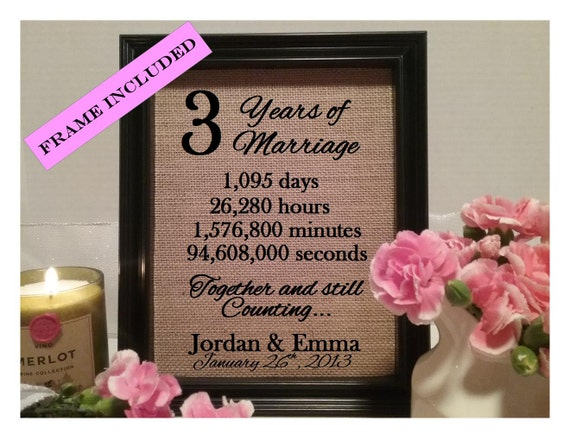 3rd Wedding Anniversary Traditional Gift: Framed 3rd Anniversary Gift 3rd Wedding Anniversary Gifts