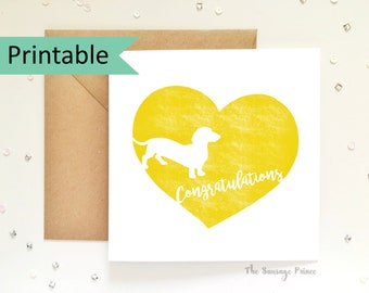 Congratulations Dachshund Greeting Card Template Instant Printable Digital Download (A4 flat, A5 folded)