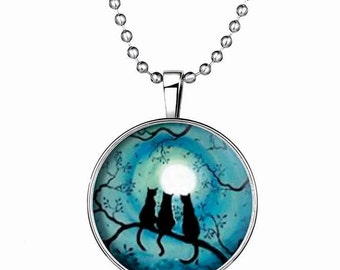 Steampunk style Necklace, lucky cat kitty, Glow in the dark,falshing, silver plated, Long chain, Holiday Gift, Halloween,Fashion,GN0046
