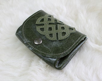 wallet green leather
