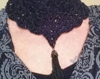 Black Sparkle Crocheted Necklace with Chain Tassel