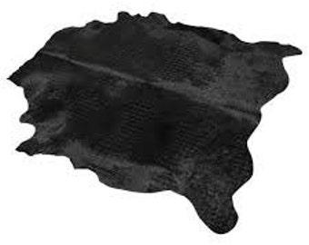 Black Hair on Hide Leather