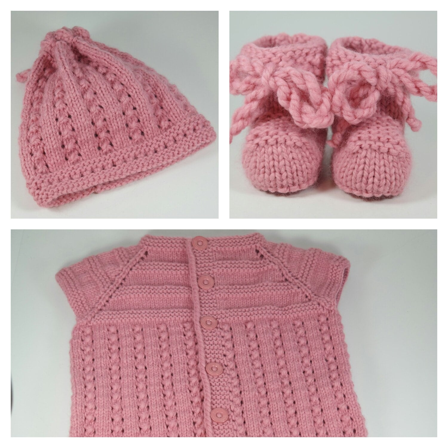 Baby knit set baby knitted hat baby knit booties by NenikoBaby