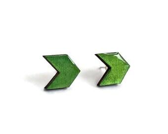 Hand painted stud earrings, wood stud earrings, geometric jewelry, wood jewelry, chevron stud earrings, chevron earrings, geometric chevron