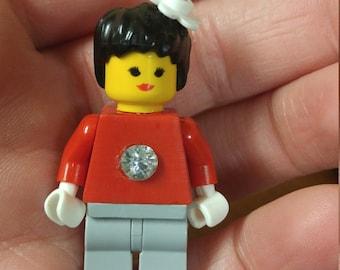 Jeweled Lego Woman Brooch
