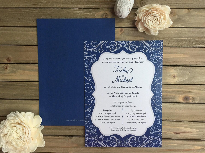 Digital wedding invitation set customizable filigree wedding digital wedding invitation set customizable filigree wedding set silver and navy monicamarmolfo Images