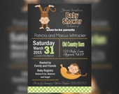 Chalkboars Monkey Baby shower invitations, apple green Boy Monkey Jungle, Safari Baby Shower Invitation, Jungle Safari, Jungle Monkey shower