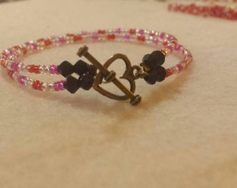 Hand Made 2 Strand Valentine's Day Bracelet