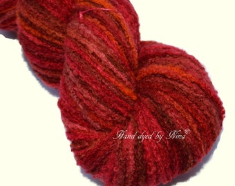 FOAM - Strong Sangria - hand dye merino - mulberry silk bouclé yarn, warm and fluffy, for knitting, crochet