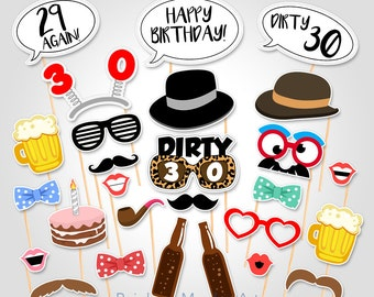 30th Birthday Party Printable Photo Booth Props - Dirty 30 Birthday Party Photobooth Props - Printable Birthday Party Photo Booth Prop