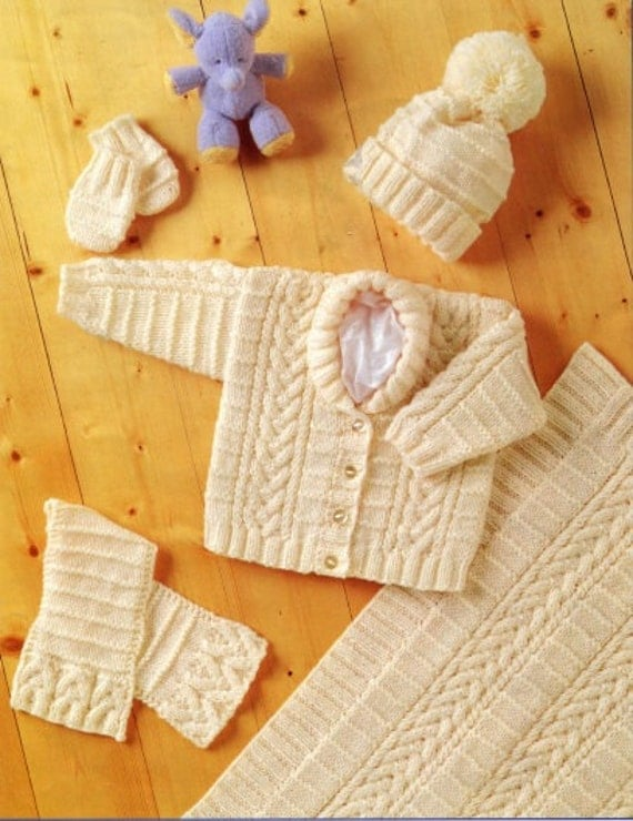 Knitting pattern baby jacket hat blanket scarf mitts premature