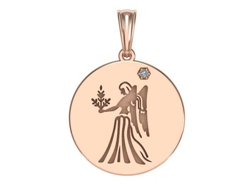 Virgo Necklace, Zodiac Jewelry, Zodiac Necklace, Gold Necklace, Rose Gold Jewelry, white gold necklace, Solid Gold Zodiac Necklace