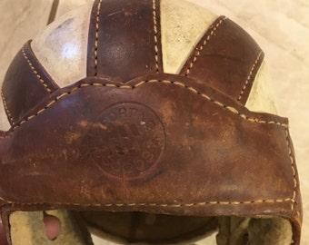 Vintage leather football helmet rustic