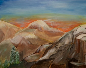 Mountain Valley - large wall canvas in acrylic