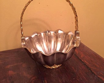 International Silver Company Silver Plated basket with gold tone/brass handle