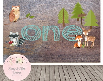 Digital Woodland Backdrop, Birthday Backdrop, First Birthday , Sweet Table Backdrop, Photobooth Backdrop, Fox Birthday Backdrop