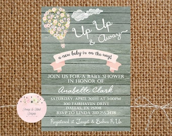 Hot Air Balloon Invitation - Up Up and Away Invitation, Up Up and Away Baby shower Invitation, Up Up and Away Birthday Invitation