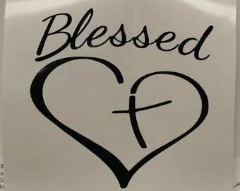 Blessed Heart and Cross - Vinyl Decal- Yeti Decal - Car Decal Sticker