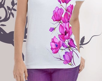 T-shirt,Hand-made,Gift,Painting, Flowers - pink magnolias ,Painting,Hand-made,Gift,Summer