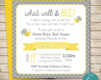 Bumble Bee Gender Reveal Party / Baby Shower Invitation, Yellow, Gray, Polkadots, DIY, Printable, Bumblebee